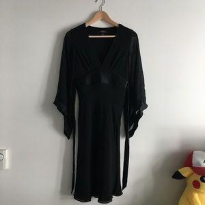 EXPRESS 100% Silk Belted V Neck Empire Dress Lined